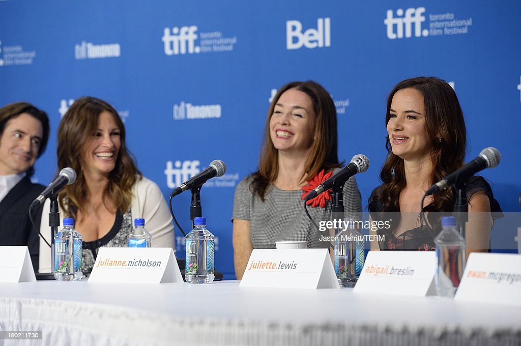 Actor Dermot Mulroney, actress Julia Roberts, actress Julianne Nicholson and actress Juliette Lewis speak onstage at 'August: Osage County' Press Conference during the 2013 Toronto International Film Festival at TIFF Bell Lightbox on September 10, 2013 in Toronto, Canada.