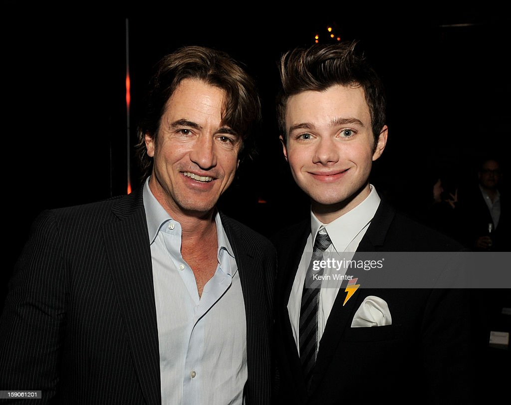 Actor <a gi-track='captionPersonalityLinkClicked' href=/galleries/search?phrase=Dermot+Mulroney&family=editorial&specificpeople=208776 ng-click='$event.stopPropagation()'>Dermot Mulroney</a> (L) and actor/producer/writer <a gi-track='captionPersonalityLinkClicked' href=/galleries/search?phrase=Chris+Colfer&family=editorial&specificpeople=5662110 ng-click='$event.stopPropagation()'>Chris Colfer</a> pose at the after party for a screening of Tribeca Film's 'Struck By Lightning' at Eden on January 6, 2013 in Los Angeles, California.