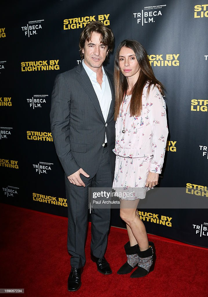 Actor Dermot Mulroney (L) and his wife Tharita Catulle (R) attend the 'Struck By Lightning' premiere at Mann Chinese 6 on January 6, 2013 in Los Angeles, California.