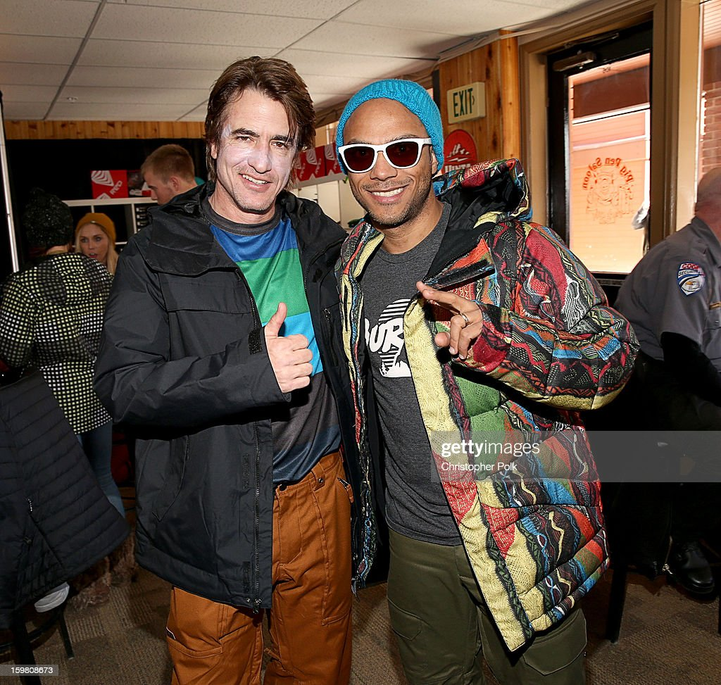Actor Dermot Mulroney and Luis Calderin attend Burton Learn To Ride - Day 2 on January 20, 2013 in Park City, Utah.