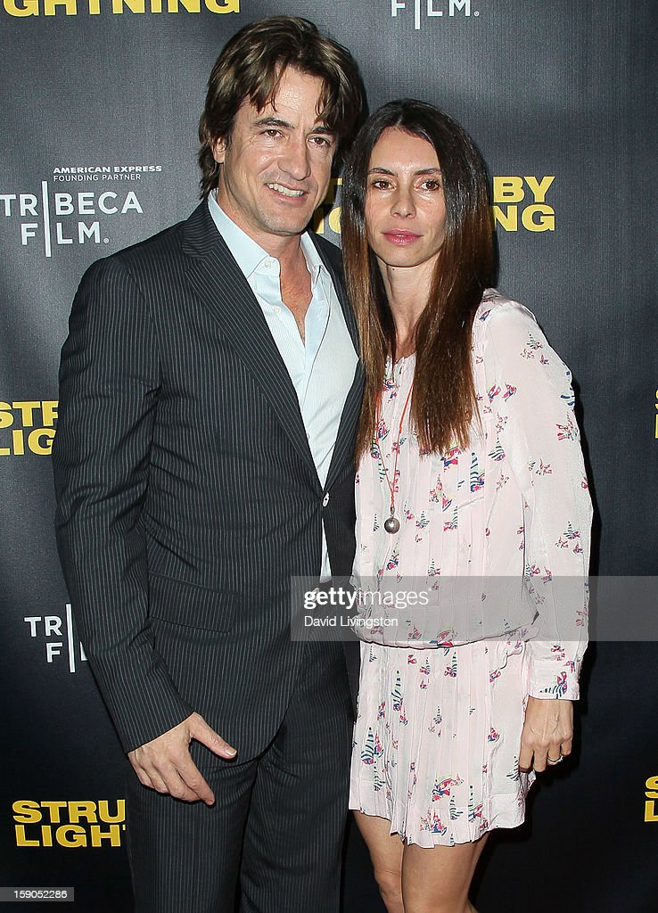 Actor Dermot Mulroney (L) and wife Tharita Catulle attend a screening of Tribeca Film's 'Struck By Lightning' at Mann Chinese 6 on January 6, 2013 in Los Angeles, California.