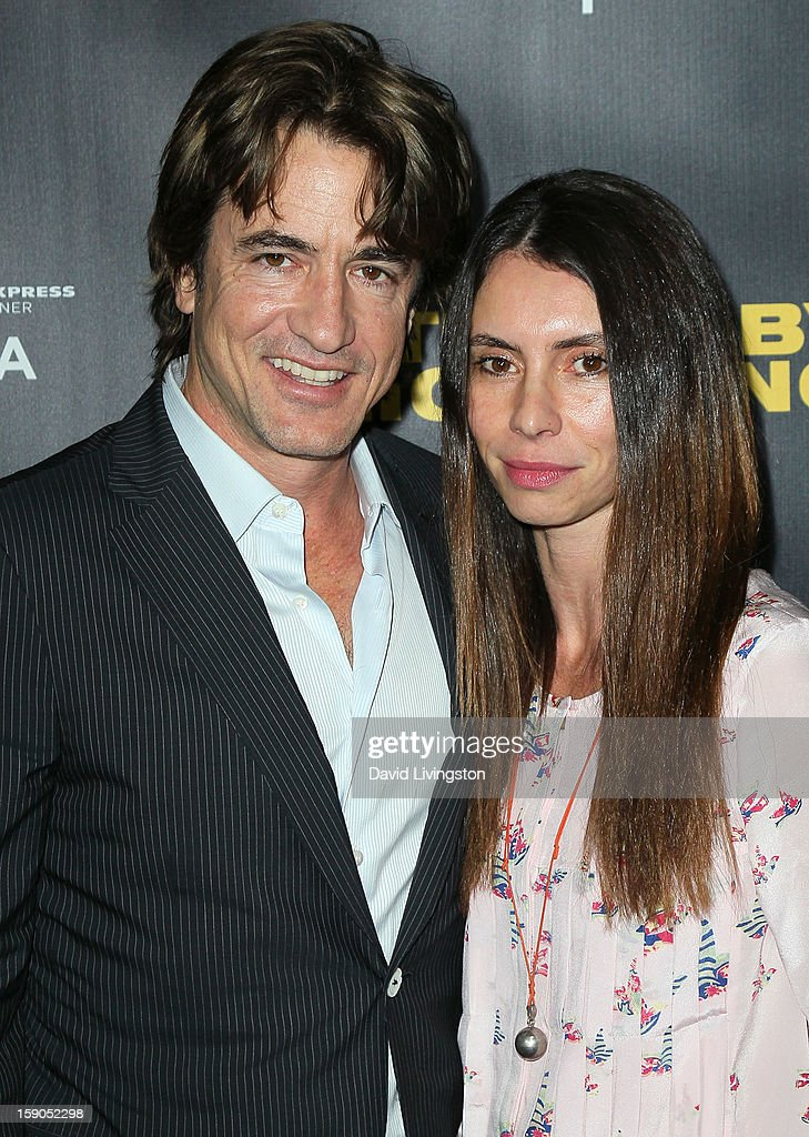 Actor <a gi-track='captionPersonalityLinkClicked' href=/galleries/search?phrase=Dermot+Mulroney&family=editorial&specificpeople=208776 ng-click='$event.stopPropagation()'>Dermot Mulroney</a> (L) and wife Tharita Catulle attend a screening of Tribeca Film's 'Struck By Lightning' at Mann Chinese 6 on January 6, 2013 in Los Angeles, California.