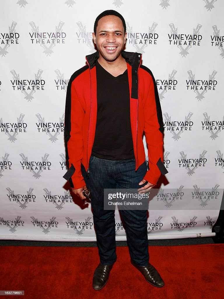 Actor Derrick Cobey attends the off Broadway opening night of 'The North Pool' at Vineyard Theatre on March 6, 2013 in New York City.