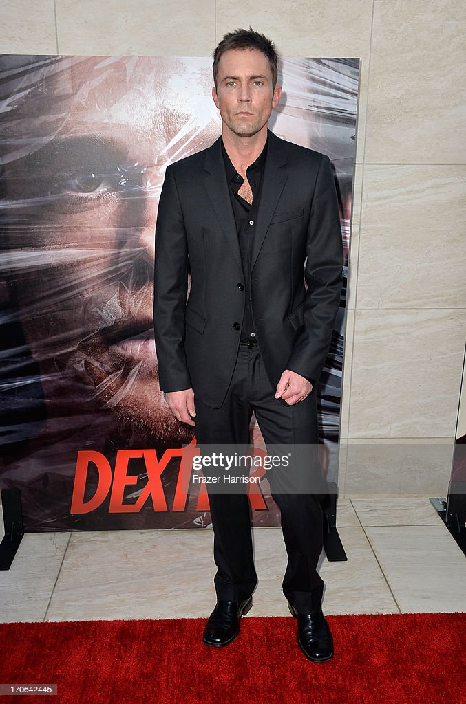Actor <a gi-track='captionPersonalityLinkClicked' href=/galleries/search?phrase=Desmond+Harrington&family=editorial&specificpeople=2301149 ng-click='$event.stopPropagation()'>Desmond Harrington</a> arrives at the Showtime Celebrates 8 Seasons Of 'Dexter' at Milk Studios on June 15, 2013 in Hollywood, California.