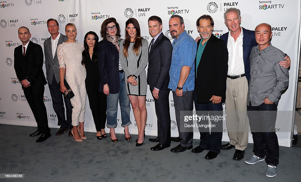 Actor <a gi-track='captionPersonalityLinkClicked' href=/galleries/search?phrase=Desmond+Harrington&family=editorial&specificpeople=2301149 ng-click='$event.stopPropagation()'>Desmond Harrington</a>, executive producer Scott Buck, actors <a gi-track='captionPersonalityLinkClicked' href=/galleries/search?phrase=Yvonne+Strahovski&family=editorial&specificpeople=4387578 ng-click='$event.stopPropagation()'>Yvonne Strahovski</a> and Amiee Garcia, executive producer Sara Colleton and actors <a gi-track='captionPersonalityLinkClicked' href=/galleries/search?phrase=Jennifer+Carpenter&family=editorial&specificpeople=595643 ng-click='$event.stopPropagation()'>Jennifer Carpenter</a>, <a gi-track='captionPersonalityLinkClicked' href=/galleries/search?phrase=Michael+C.+Hall+-+Actor&family=editorial&specificpeople=680229 ng-click='$event.stopPropagation()'>Michael C. Hall</a>, <a gi-track='captionPersonalityLinkClicked' href=/galleries/search?phrase=David+Zayas&family=editorial&specificpeople=549697 ng-click='$event.stopPropagation()'>David Zayas</a>, <a gi-track='captionPersonalityLinkClicked' href=/galleries/search?phrase=James+Remar&family=editorial&specificpeople=1567743 ng-click='$event.stopPropagation()'>James Remar</a>, Geoff Pierson and <a gi-track='captionPersonalityLinkClicked' href=/galleries/search?phrase=C.S.+Lee&family=editorial&specificpeople=3464312 ng-click='$event.stopPropagation()'>C.S. Lee</a> attend PaleyFestPreviews: Fall TV - Fall Farewell: 'Dexter' at The Paley Center for Media on September 12, 2013 in Beverly Hills, California.