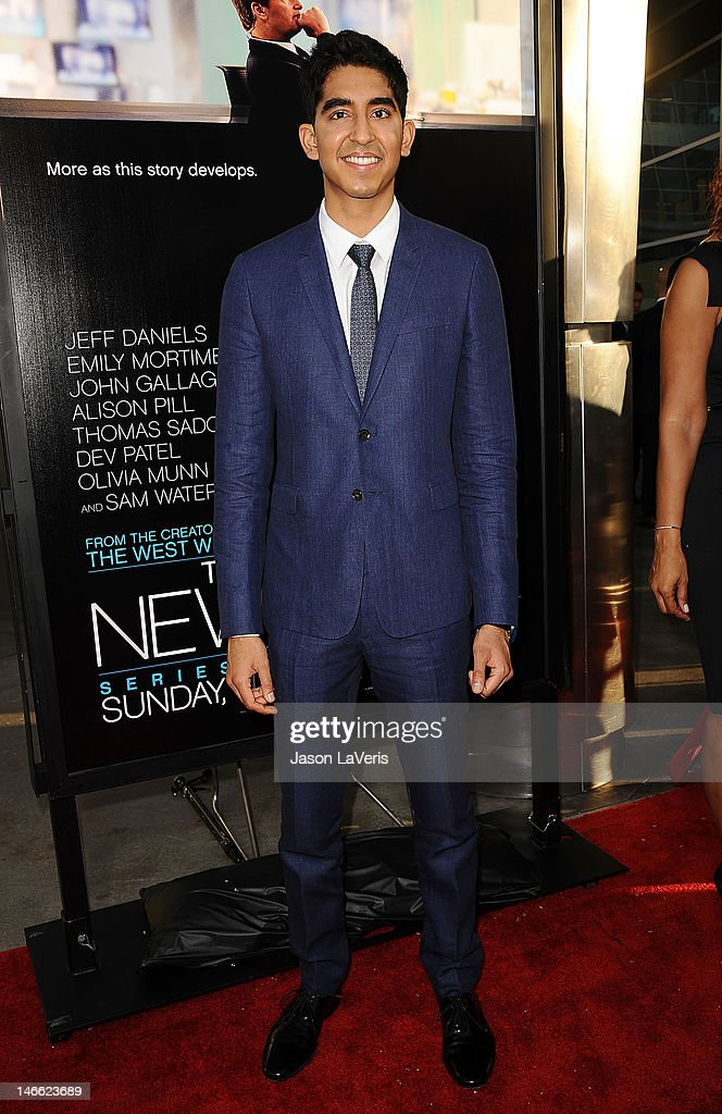 Actor <a gi-track='captionPersonalityLinkClicked' href=/galleries/search?phrase=Dev+Patel&family=editorial&specificpeople=5123545 ng-click='$event.stopPropagation()'>Dev Patel</a> attends the premiere of HBO's 'Newsroom' at ArcLight Cinemas Cinerama Dome on June 20, 2012 in Hollywood, California.