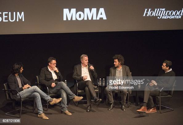 Actor Dev Patel cinematographer Greig Fraser writer Luke Davies director Garth Davis and MOMA's The Celeste Bartos Chief Curator of Film Rajendra Roy...