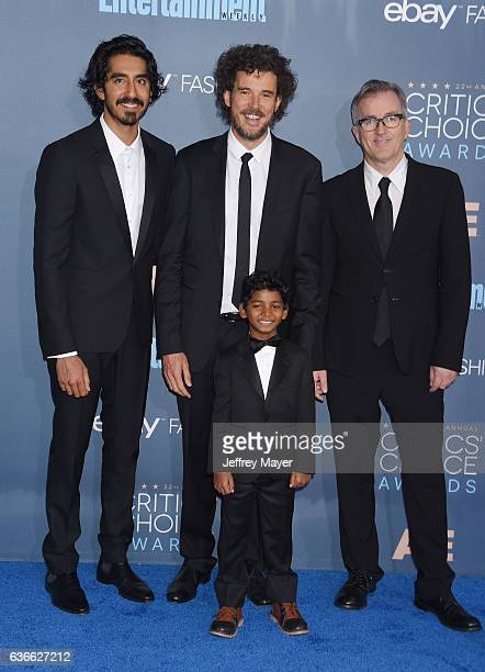 Actor Dev Patel director Garth Davis writer Luke Davies and actor Sunny Pawars arrive at The 22nd Annual Critics' Choice Awards at Barker Hangar on...