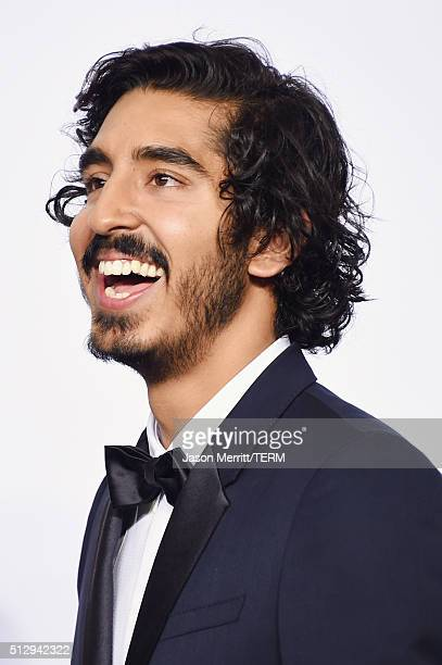 Actor Dev Patel poses in the press room during the 88th Annual Academy Awards at Loews Hollywood Hotel on February 28 2016 in Hollywood California