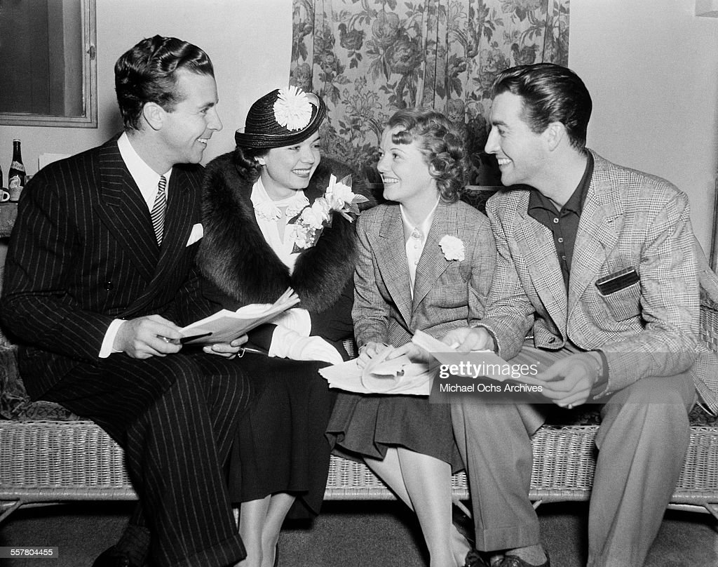Actor <a gi-track='captionPersonalityLinkClicked' href=/galleries/search?phrase=Dick+Powell&family=editorial&specificpeople=752168 ng-click='$event.stopPropagation()'>Dick Powell</a> (L) talks with actress <a gi-track='captionPersonalityLinkClicked' href=/galleries/search?phrase=Frances+Langford&family=editorial&specificpeople=224797 ng-click='$event.stopPropagation()'>Frances Langford</a>, actress <a gi-track='captionPersonalityLinkClicked' href=/galleries/search?phrase=Janet+Gaynor&family=editorial&specificpeople=91193 ng-click='$event.stopPropagation()'>Janet Gaynor</a> and actor <a gi-track='captionPersonalityLinkClicked' href=/galleries/search?phrase=Robert+Taylor+-+American+Actor&family=editorial&specificpeople=5411922 ng-click='$event.stopPropagation()'>Robert Taylor</a> in Los Angeles, California.