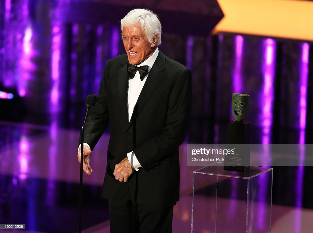 Actor Dick Van Dyke accepts the Life Achievement Award onstage during the 19th Annual Screen Actors Guild Awards at The Shrine Auditorium on January 27, 2013 in Los Angeles, California. (Photo by Christopher Polk/WireImage) 23116_012_1925.jpg