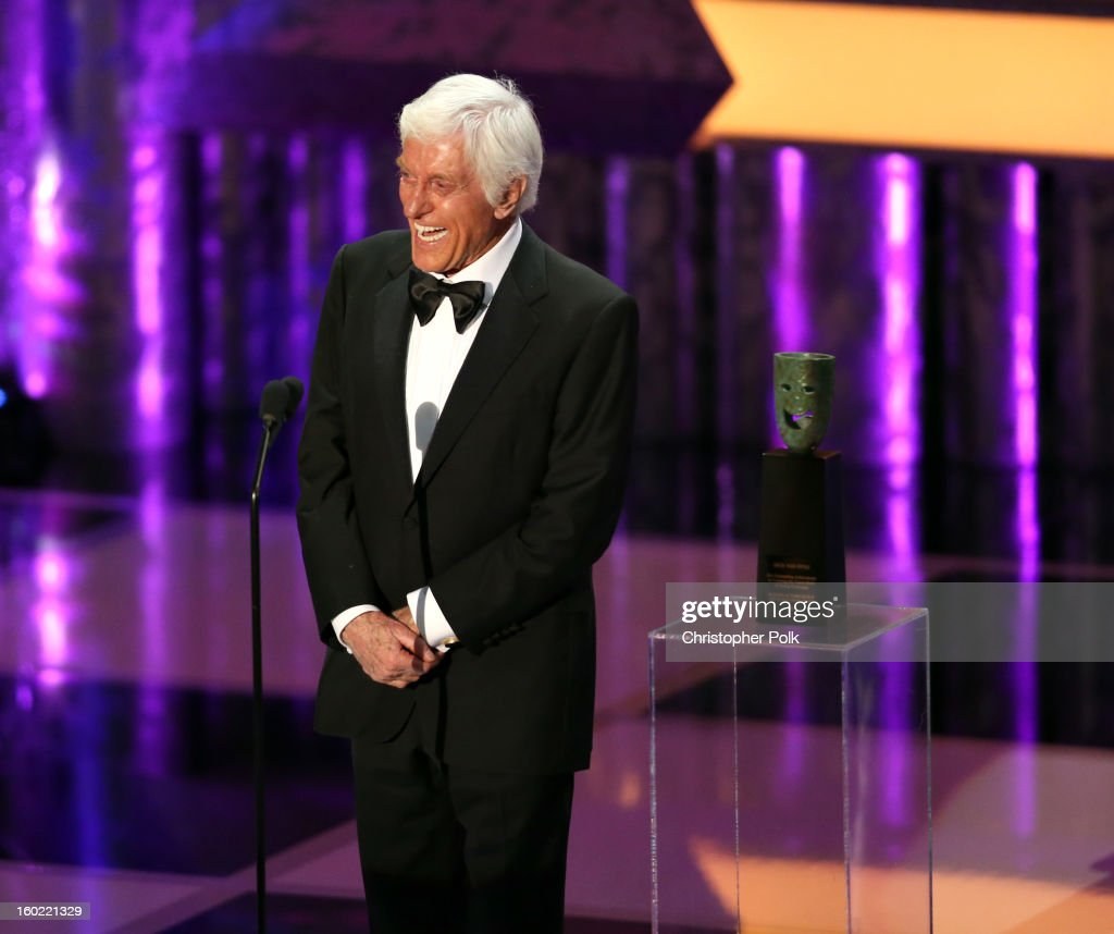 Actor Dick Van Dyke accepts the Life Achievement Award onstage during the 19th Annual Screen Actors Guild Awards at The Shrine Auditorium on January 27, 2013 in Los Angeles, California. (Photo by Christopher Polk/WireImage) 23116_012_1923.JPG