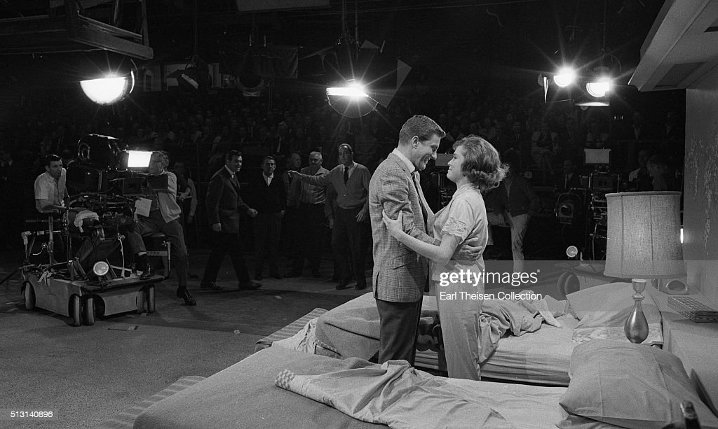 Actor Dick Van Dyke and actress Mary Tyler Moore in rehearsal for The Dick Van Dyke Show on December 2 1963 in Los Angeles California