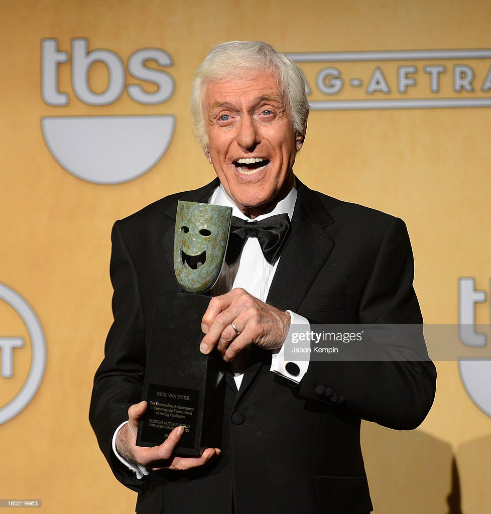 Actor <a gi-track='captionPersonalityLinkClicked' href=/galleries/search?phrase=Dick+Van+Dyke&family=editorial&specificpeople=123836 ng-click='$event.stopPropagation()'>Dick Van Dyke</a> attends the19th Annual Screen Actors Guild Awards Press Room at The Shrine Auditorium on January 27, 2013 in Los Angeles, California.