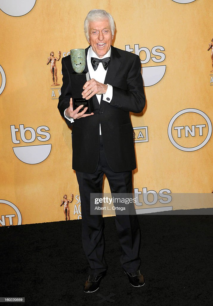 Actor Dick Van Dyke poses in the press room at the 19th Annual Screen Actors Guild Awards held at The Shrine Auditorium on January 27, 2013 in Los Angeles, California.