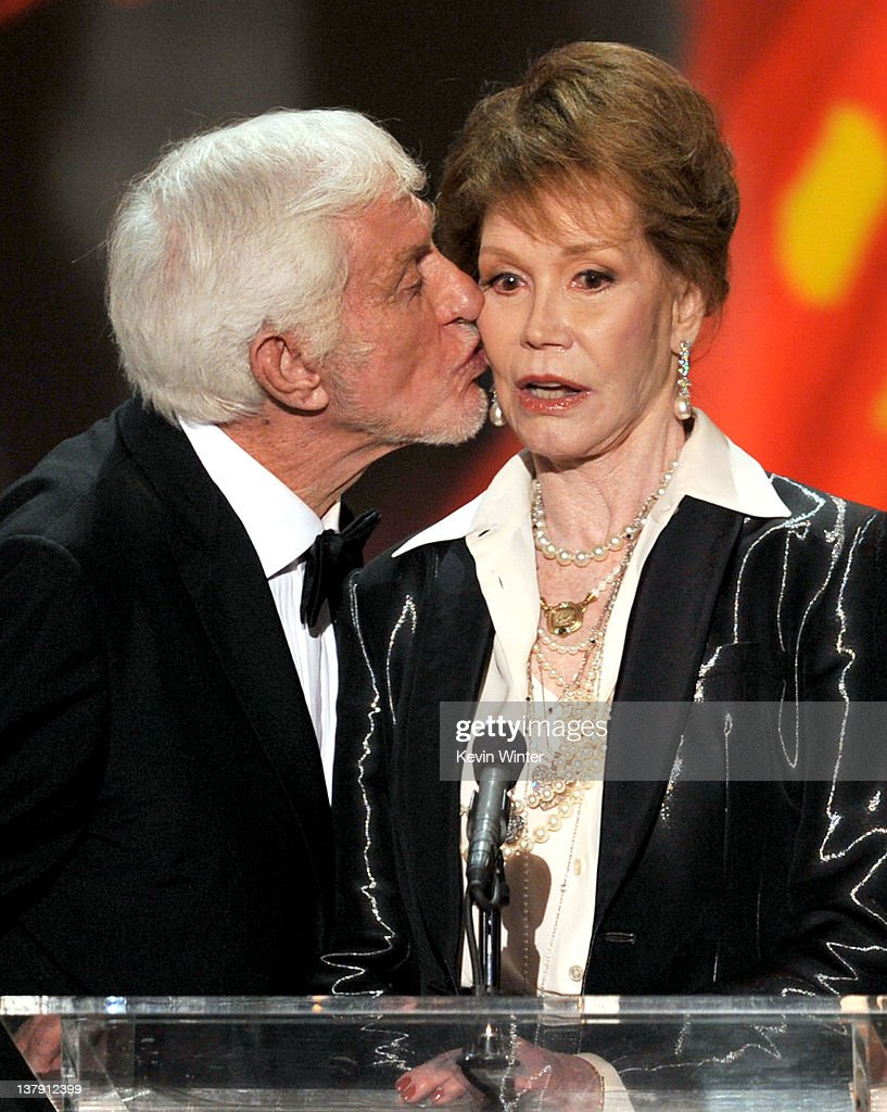 Actor Dick Van Dyke presents the Life Achievement Award to actress Mary Tyler Moore onstage during the 18th Annual Screen Actors Guild Awards at The...