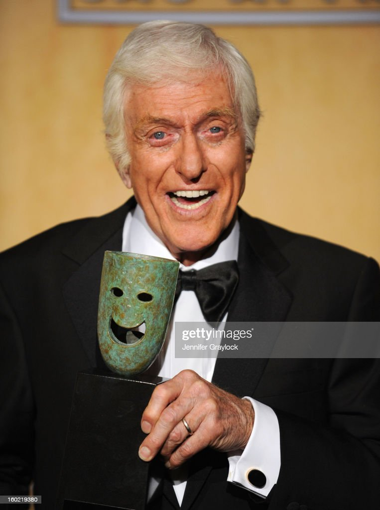 Actor <a gi-track='captionPersonalityLinkClicked' href=/galleries/search?phrase=Dick+Van+Dyke&family=editorial&specificpeople=123836 ng-click='$event.stopPropagation()'>Dick Van Dyke</a>, recipient of the Screen Actors Guild Life Achievement Award, poses in the press room during the 19th Annual Screen Actors Guild Awards held at The Shrine Auditorium on January 27, 2013 in Los Angeles, California.