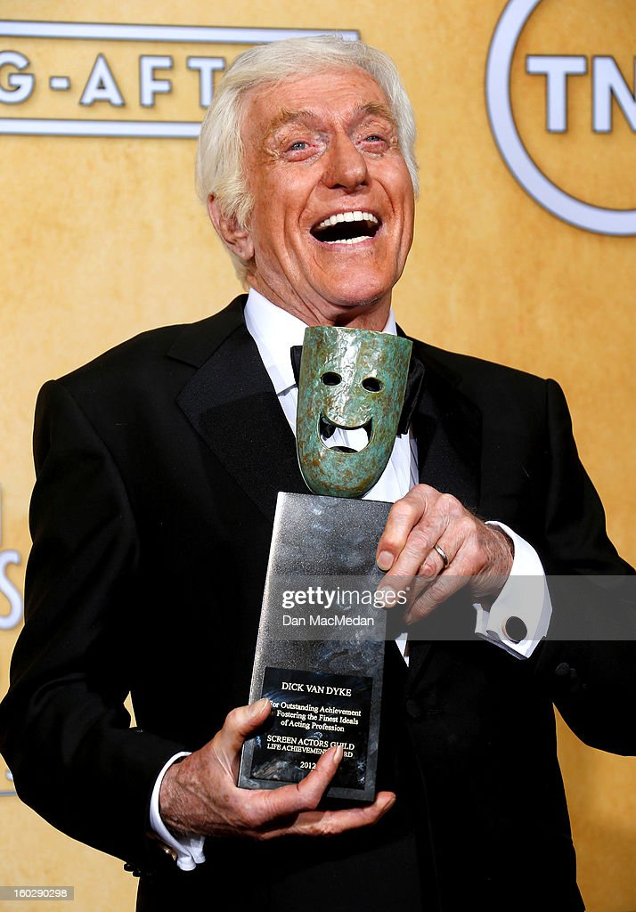 Actor <a gi-track='captionPersonalityLinkClicked' href=/galleries/search?phrase=Dick+Van+Dyke&family=editorial&specificpeople=123836 ng-click='$event.stopPropagation()'>Dick Van Dyke</a>, recipient of the Screen Actors Guild Life Achievement Award, poses in the press room at the 19th Annual Screen Actors Guild Awards at the Shrine Auditorium on January 27, 2013 in Los Angeles, California.
