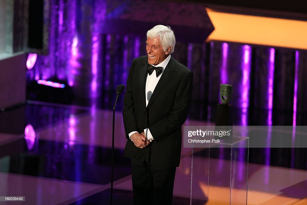 Actor Dick Van Dyke speaks at the 19th Annual Screen Actors Guild Awards at The Shrine Auditorium on January 27, 2013 in Los Angeles, California. (Photo by Christopher Polk/WireImage) 23116_012_1923.JPG