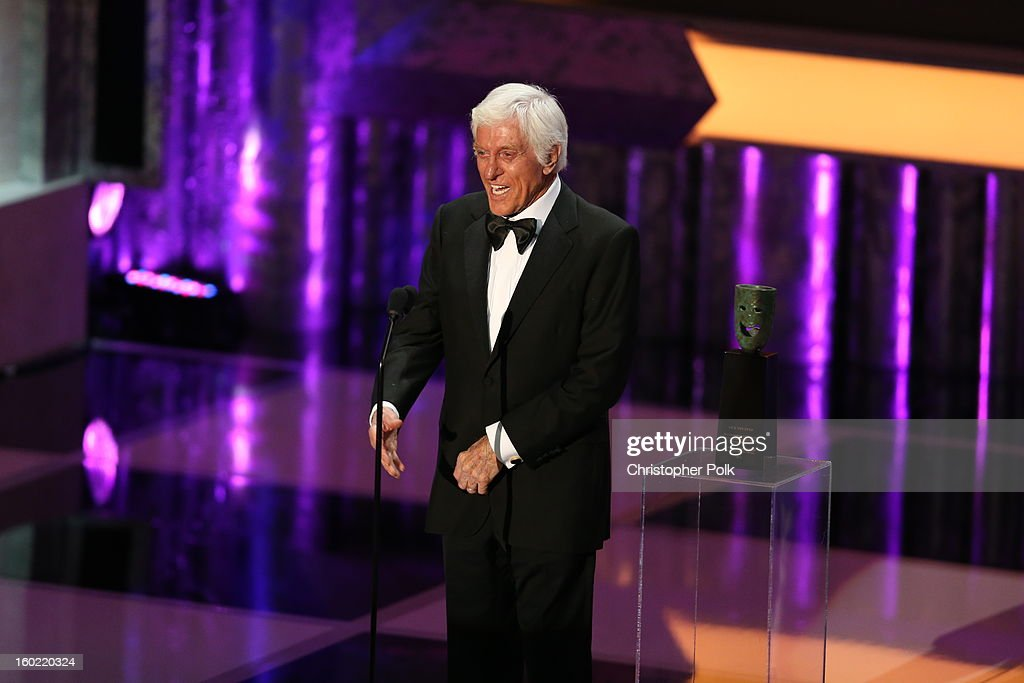 Actor <a gi-track='captionPersonalityLinkClicked' href=/galleries/search?phrase=Dick+Van+Dyke&family=editorial&specificpeople=123836 ng-click='$event.stopPropagation()'>Dick Van Dyke</a> speaks onstage at the 19th Annual Screen Actors Guild Awards at The Shrine Auditorium on January 27, 2013 in Los Angeles, California. (Photo by Christopher Polk/WireImage) 23116_012_2072.JPG