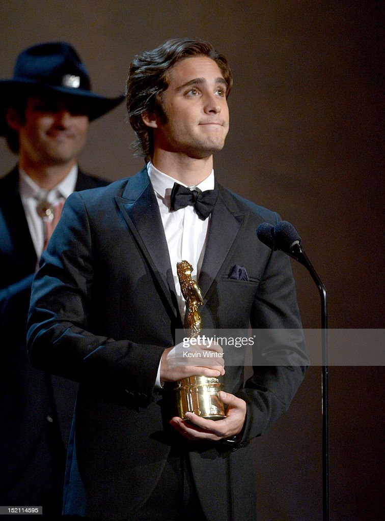 Actor <a gi-track='captionPersonalityLinkClicked' href=/galleries/search?phrase=Diego+Boneta&family=editorial&specificpeople=6787641 ng-click='$event.stopPropagation()'>Diego Boneta</a> accepts the award for Favorite Movie Actor onstage at the 2012 NCLR ALMA Awards at Pasadena Civic Auditorium on September 16, 2012 in Pasadena, California.