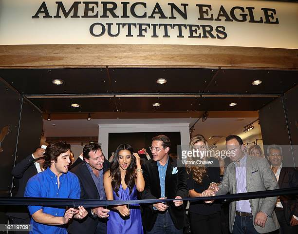 Actor Diego Boneta VP International Franchising Global Business Developments at American Eagle Outfitters Simon Nankervis actress Shay Mitchell...