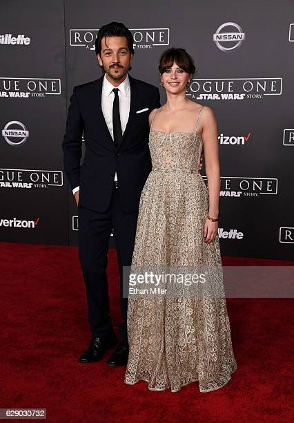 Actor Diego Luna and actress Felicity Jones attend the premiere of Walt Disney Pictures and Lucasfilm's 'Rogue One A Star Wars Story' at the Pantages...