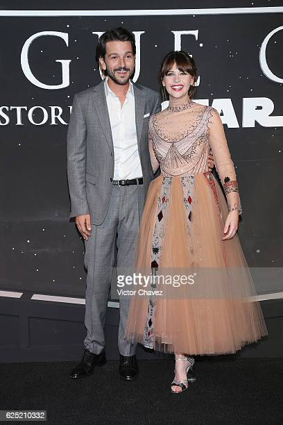 Actor Diego Luna and actress Felicity Jones attend the 'Rogue One A Star Wars Story' Mexico City fan event black carpet at Cinemex Antara on November...