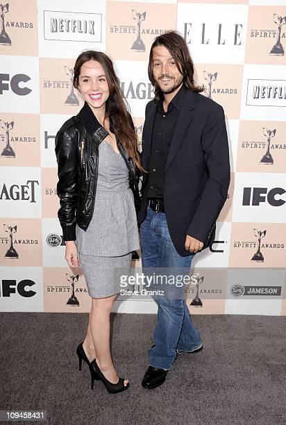 Actor Diego Luna and Camila Sodi arrive at the 2011 Film Independent Spirit Awards at Santa Monica Beach on February 26 2011 in Santa Monica...