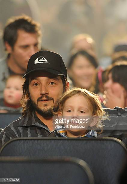 Actor Diego Luna and son Geronimo Luna attend Yo Gabba Gabba Live There's A Party In My City at Nokia LA Live on November 27 2010 in Los Angeles...