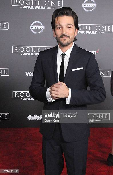 Actor Diego Luna attends the premiere of Walt Disney Pictures and Lucasfilms' 'Rogue One A Star Wars Story' at the Pantages Theatre on December 10...