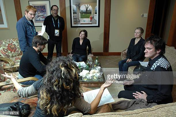 Actor Diego Luna David Courier John Cooper actress Marcia Gay Harden actress Mary Harren director Quentin Tarantino and actress Sandra Oh attend the...