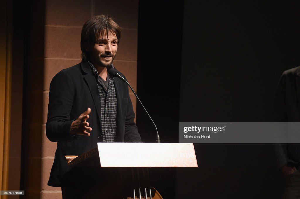 Actor Diego Luna speaks onstage during the 'Mr Pig' Premiere during the 2016 Sundance Film Festival at Eccles Center Theatre on January 26 2016 in...