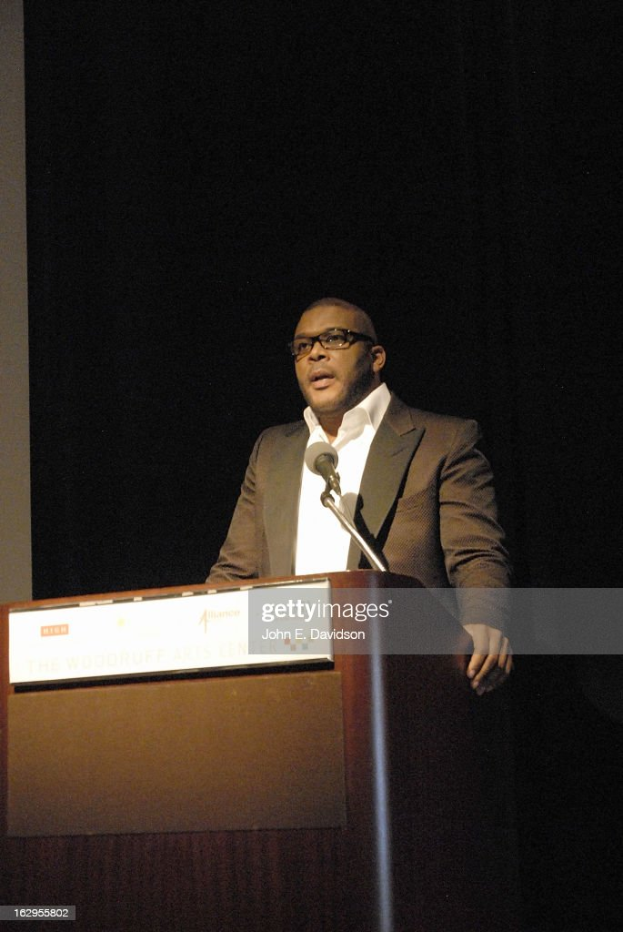 Actor, Director and Writer <a gi-track='captionPersonalityLinkClicked' href=/galleries/search?phrase=Tyler+Perry&family=editorial&specificpeople=678008 ng-click='$event.stopPropagation()'>Tyler Perry</a> attends the 'Kunta Kinteh Island: Coming Home Without Shackles' premiere at the Woodruff Arts Center on March 1, 2013 in Atlanta, Georgia.
