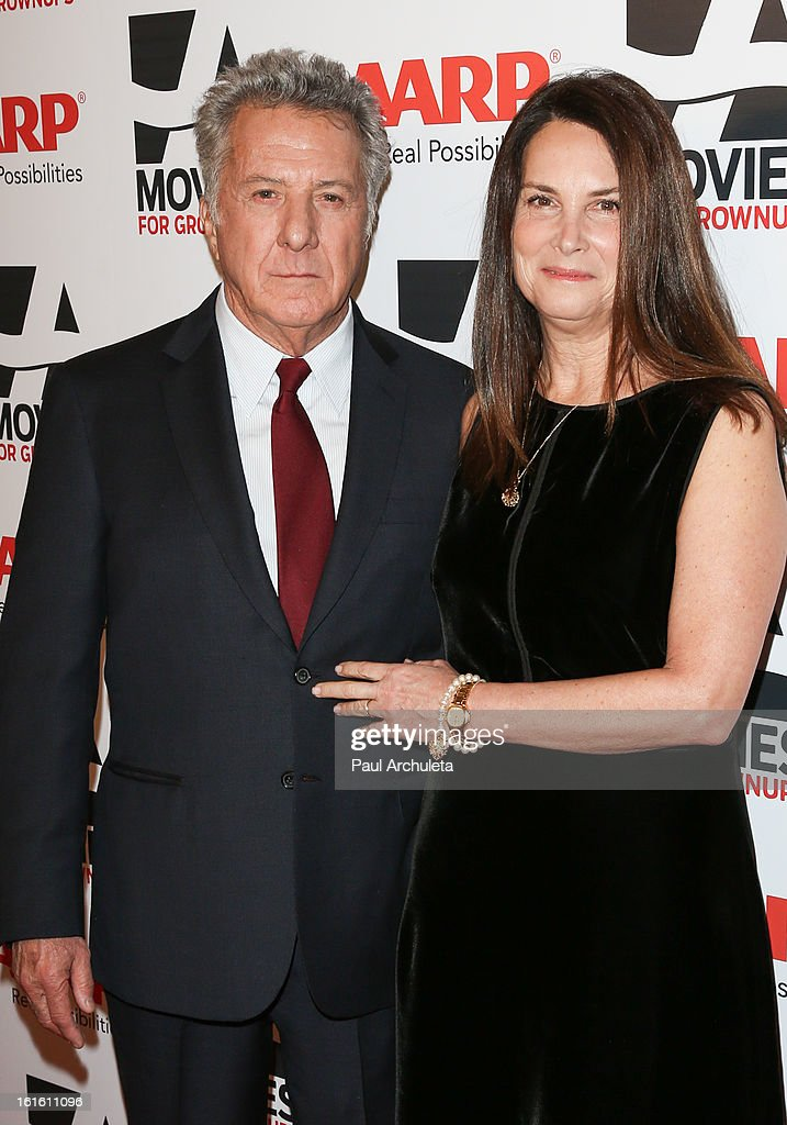 Actor / Director <a gi-track='captionPersonalityLinkClicked' href=/galleries/search?phrase=Dustin+Hoffman&family=editorial&specificpeople=171356 ng-click='$event.stopPropagation()'>Dustin Hoffman</a> (L) and his wife <a gi-track='captionPersonalityLinkClicked' href=/galleries/search?phrase=Lisa+Hoffman&family=editorial&specificpeople=2762399 ng-click='$event.stopPropagation()'>Lisa Hoffman</a> attend the AARP Magazine's 12th annual Movies For Grownups Awards luncheon at the Peninsula Hotel on February 12, 2013 in Beverly Hills, California.