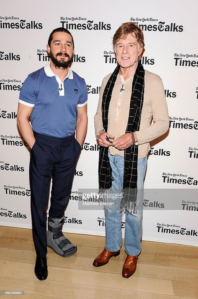 Actor/ director Robert Redford (R) and actor Shia LaBeouf attend TimesTalks Presents: 'The Company You Keep' at TheTimesCenter on April 2, 2013 in New York City.