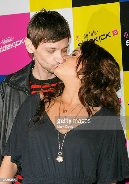 Actor DJ Qualls poses with his girlfriend at the TMobile Sidekick iD launch party at the TMobile Sidekick Lot on April 13 2007 in Los Angeles...