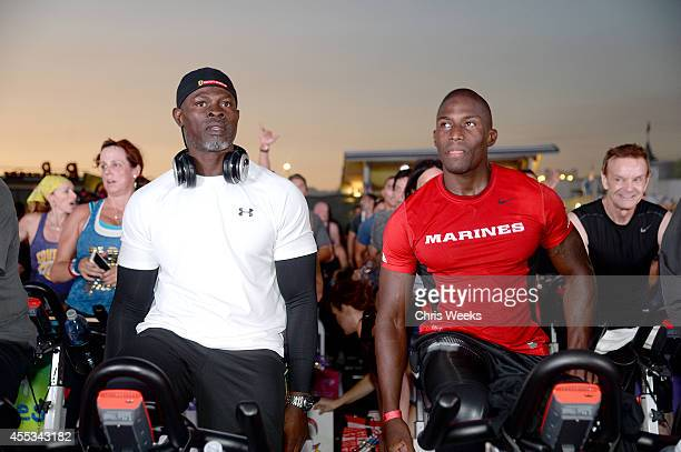 Actor Djimon Hounsou and USMC Cpl Kionte Storey attend Cycle For Heroes at The Santa Monica Pier to benefit The Heroes Project at Santa Monica Pier...