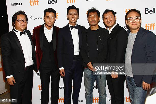 Actor Do Won Kwak actor Woosung Jung actor Ju Jihoon producer Jaeduk Han actor Jung Mansik and director Kim Sungsu attend the 'Asura The City Of...