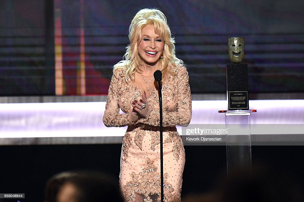 Actor Dolly Parton speaks onstage during the 23rd Annual Screen Actors Guild Awards at The Shrine Expo Hall on January 29, 2017 in Los Angeles, California.