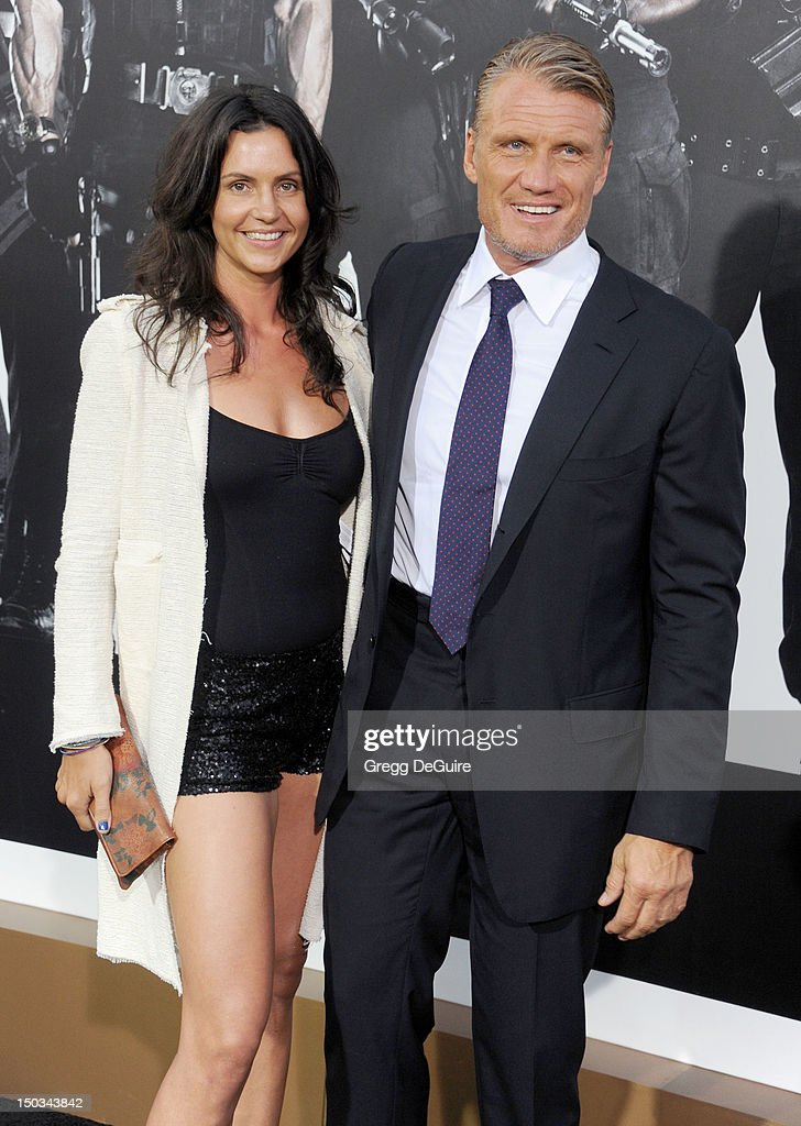 Actor Dolph Lundgren and Jenny Sanderson arrive at Los Angeles premiere of 'The Expendables 2' at Grauman's Chinese Theatre on August 15, 2012 in Hollywood, California.