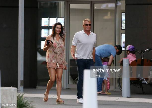 Actor Dolph Lundgren and Jenny Sandersson walk around Broadbeach on the Gold Coast Queensland Dolph Lundgren is currently filming Aquaman