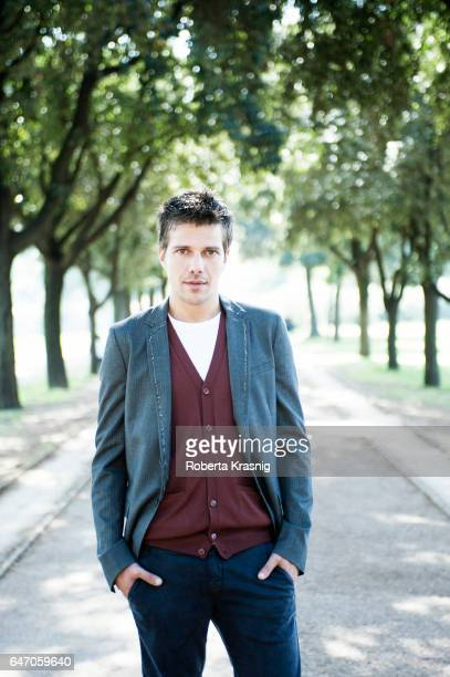 Actor Domenico Diele is photographed for Self Assignment on October 2 2013 in Rome Italy