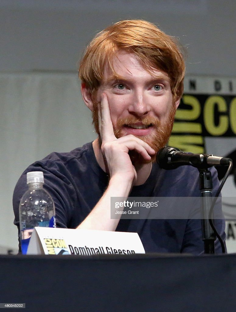 Actor Domhnall Gleeson at the Hall H Panel for 'Star Wars: The Force Awakens' during Comic-Con International 2015 at the San Diego Convention Center on July 10, 2015 in San Diego, California.