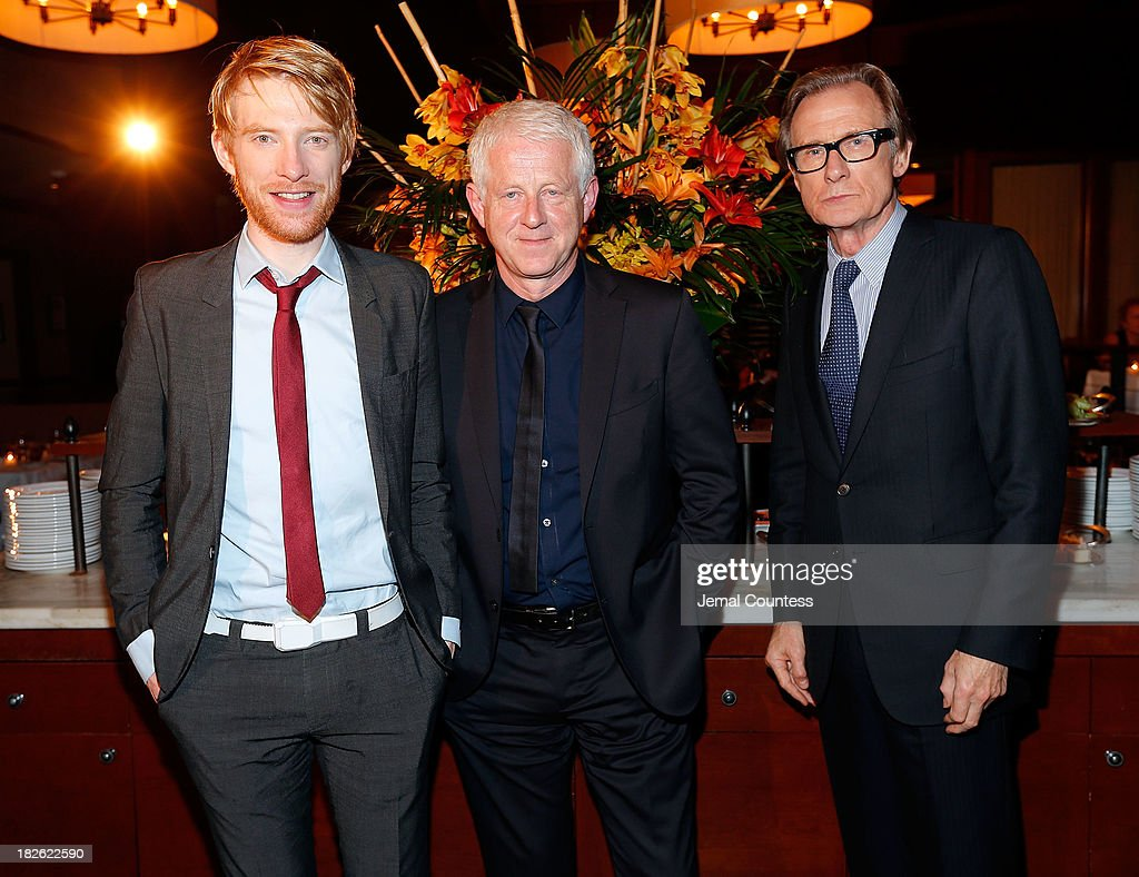Actor <a gi-track='captionPersonalityLinkClicked' href=/galleries/search?phrase=Domhnall+Gleeson&family=editorial&specificpeople=653261 ng-click='$event.stopPropagation()'>Domhnall Gleeson</a>, filmmaker <a gi-track='captionPersonalityLinkClicked' href=/galleries/search?phrase=Richard+Curtis+-+Screenwriter&family=editorial&specificpeople=209106 ng-click='$event.stopPropagation()'>Richard Curtis</a> and actor <a gi-track='captionPersonalityLinkClicked' href=/galleries/search?phrase=Bill+Nighy&family=editorial&specificpeople=201599 ng-click='$event.stopPropagation()'>Bill Nighy</a> attend the after party for the 'About Time' & 'Jimmy