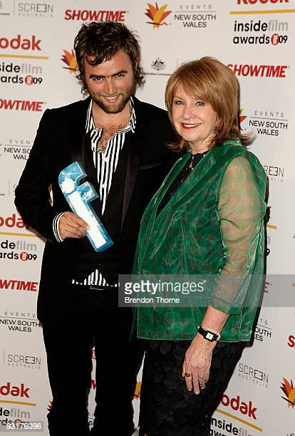 Actor Dominic Allen with Jan Chapman pose with the award for Rising Talent during the 2009 Kodak Inside Film Awards at Luna Park on November 18 2009...