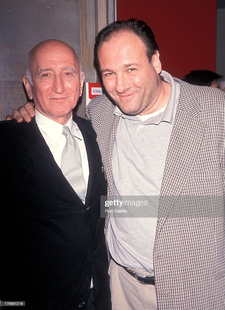 Actor Dominic Chianese and actor James Gandolfini attend the Fifth Annual Avignon New York Film Festival - 'Under Hellgate Bridge' Screening Party on April 26, 1999 at the French Institute in New York City.