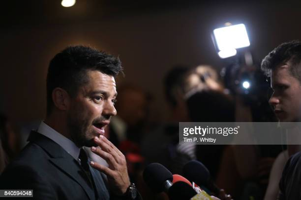 Actor Dominic Cooper talks to reporters as he attends the 'Stratton' UK premiere at the Vue West End on August 29 2017 in London England