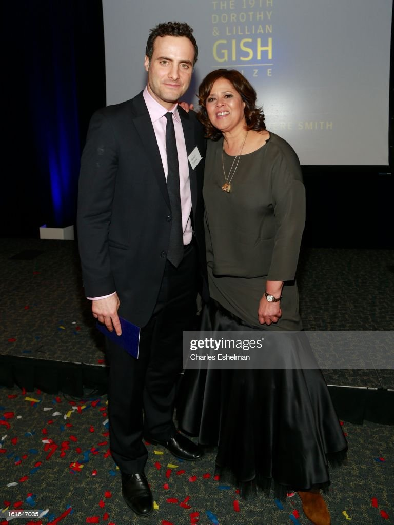 Actor Dominic Fumusa and honoree <a gi-track='captionPersonalityLinkClicked' href=/galleries/search?phrase=Anna+Deavere+Smith&family=editorial&specificpeople=234428 ng-click='$event.stopPropagation()'>Anna Deavere Smith</a> attend 19th Annual Dorothy And Lillian Gish Prize Ceremony at The Vista 1 Chase Manhattan Plaza on February 13, 2013 in New York City.