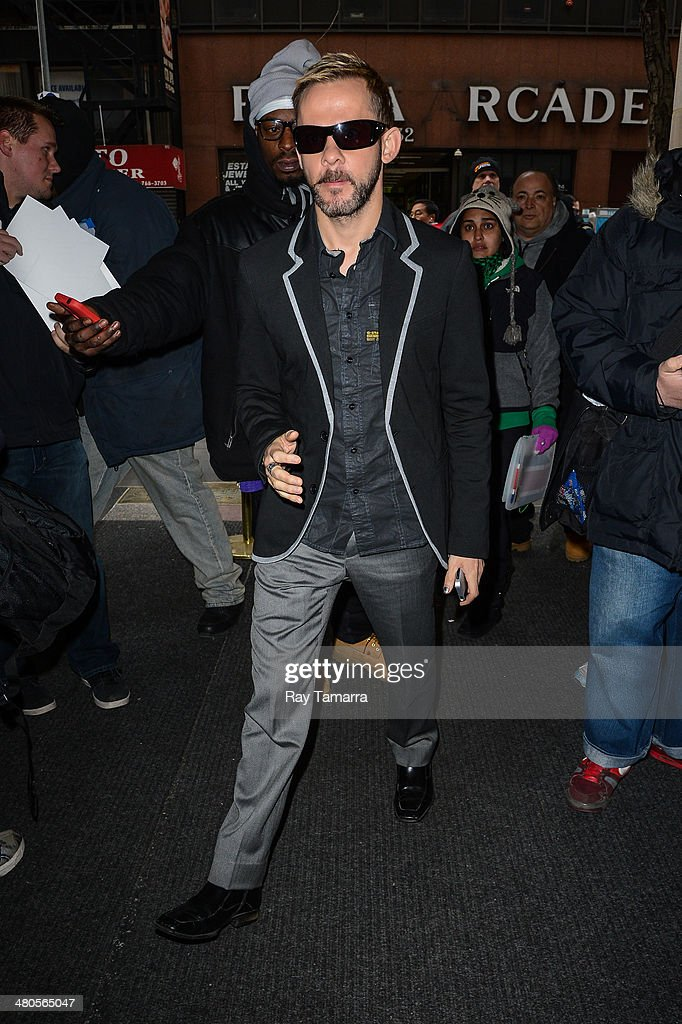Actor Dominic Monaghan enters the 'Today Show' taping at NBC Rockefeller Center Studios on March 25, 2014 in New York City.